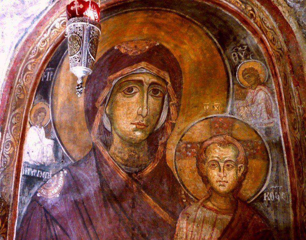 Богоматерь Одигитрия. Фреска церкви Святого Стефана в Кастории, Греция. XIII век. Фрагмент.
