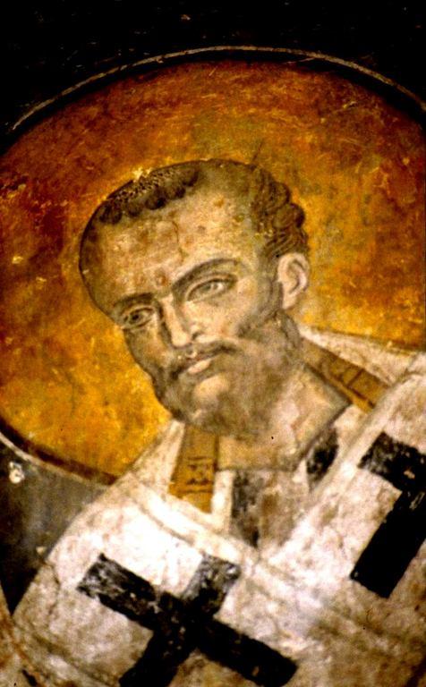 Святитель Иоанн Златоуст, Архиепископ Константинопольский. Фреска Старой Митрополии в Верии, Греция.