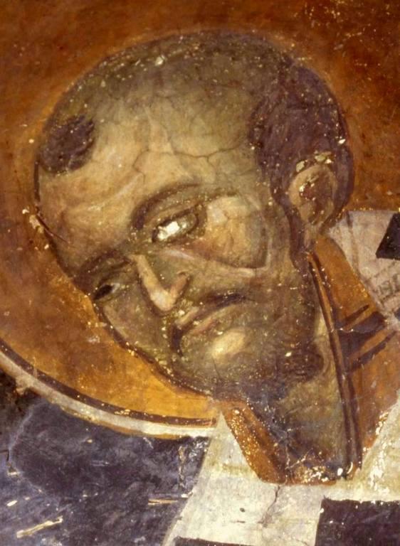 Святитель Иоанн Златоуст, Архиепископ Константинопольский. Фреска церкви Святого Власия в Верии, Греция. Начало XIV века.