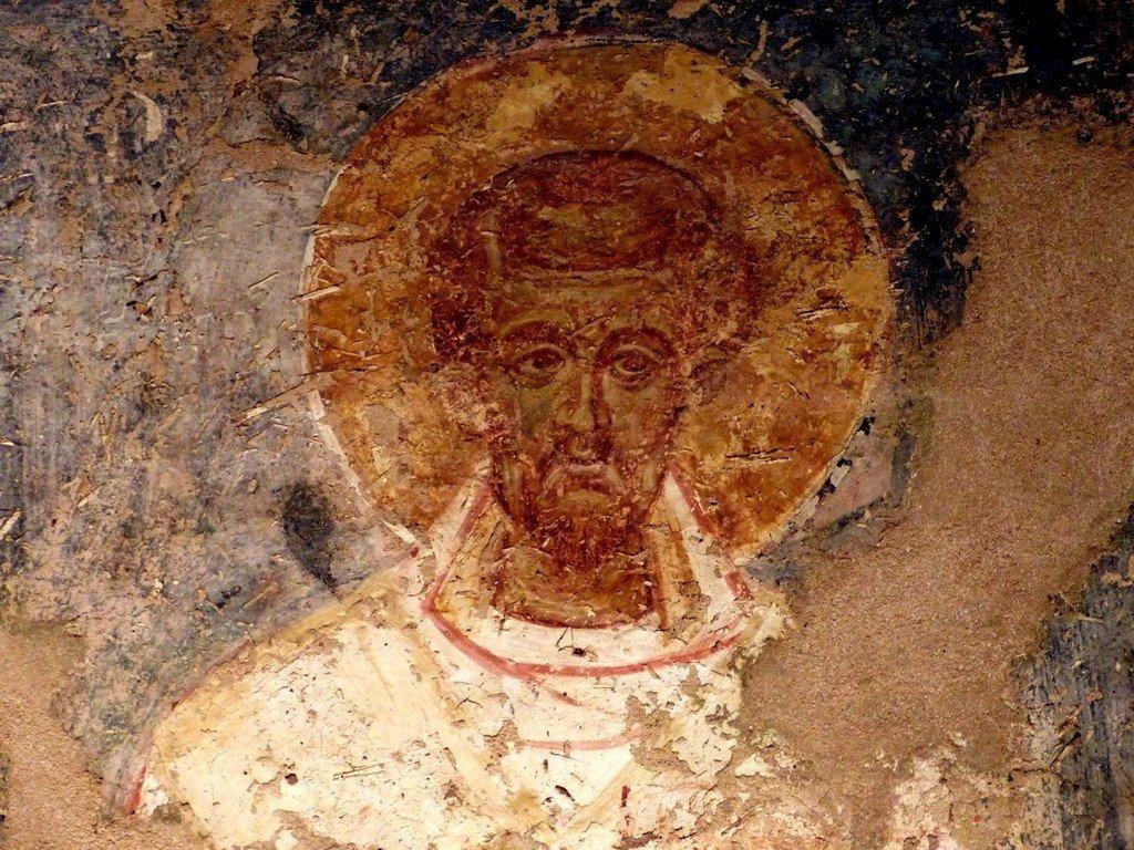 Святитель Иоанн Златоуст, Архиепископ Константинопольский. Византийская фреска. Византийский музей в Афинах.