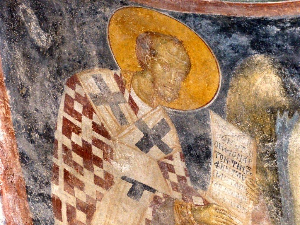 Святитель Иоанн Златоуст, Архиепископ Константинопольский. Фреска церкви Богородицы Перивлепты в Мистре, Греция. XIV век.