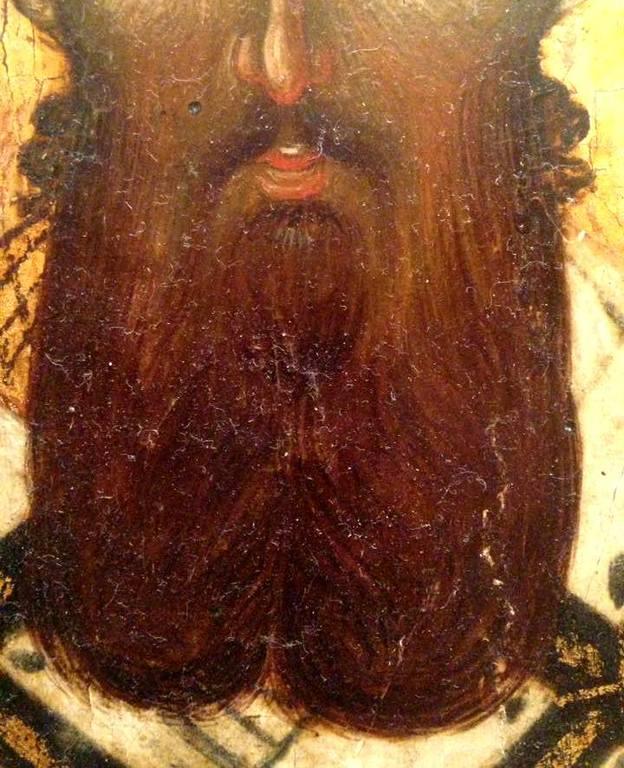 Святитель Григорий Палама, Архиепископ Солунский. Икона. Византия, 1370 - 1380-е годы. ГМИИ. Фрагмент.