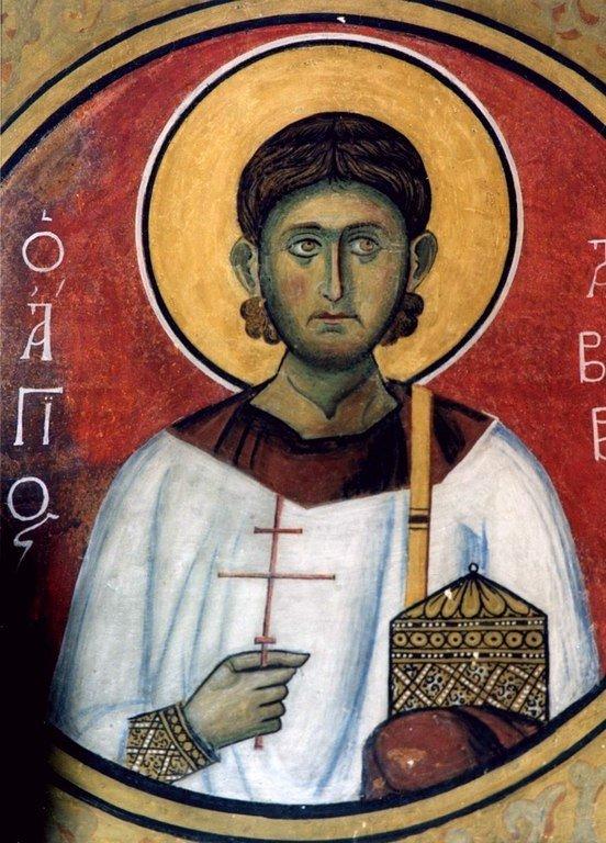 Святой Мученик Авив Едесский. Фреска церкви Панагии Аракиотиссы в селе Лагудера, Кипр. 1192 год.