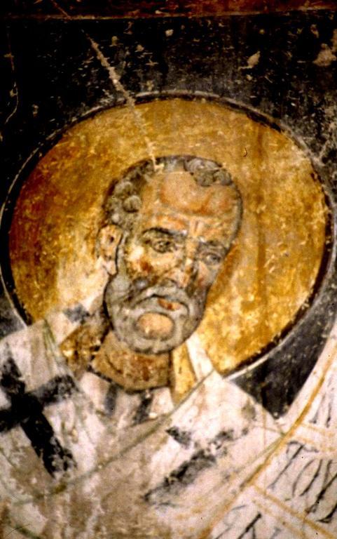 Святитель Григорий Чудотворец, Епископ Неокесарийский. Фреска Старой Митрополии в Верии, Греция.