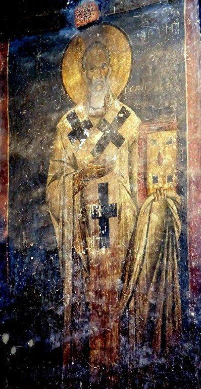 Святитель Григорий Чудотворец, Епископ Неокесарийский. Фреска церкви Святых Врачей (Космы и Дамиана) в Кастории, Греция. XII век.