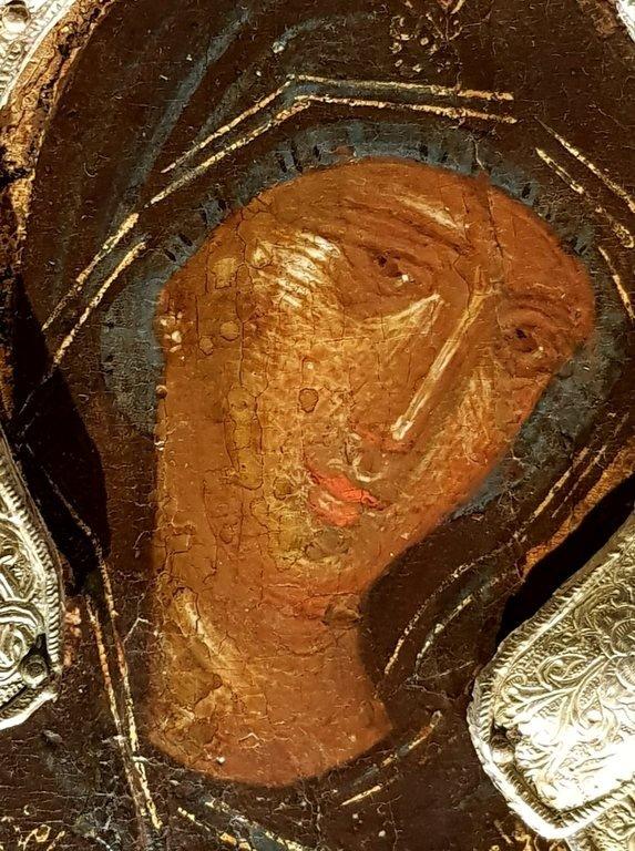 Богоматерь Агиосоритисса. Икона. Византия, X - XIV вв. Музей во Фрайзинге, Германия. Фрагмент.