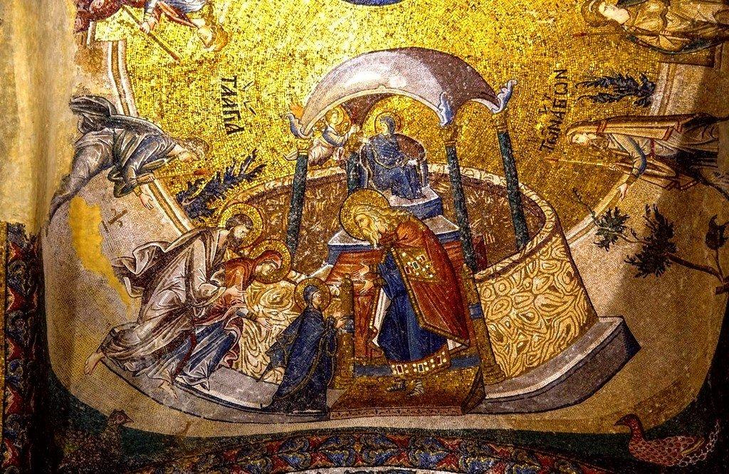 Введение во храм Пресвятой Богородицы. Мозаика монастыря Хора в Константинополе. 1315 - 1321 годы.