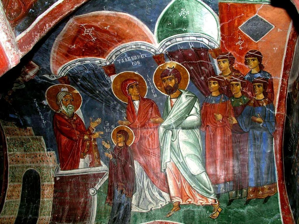 """Введение во храм Пресвятой Богородицы. Фреска церкви Святого Николая тис стегис (""""под крышей"""") на Кипре."""