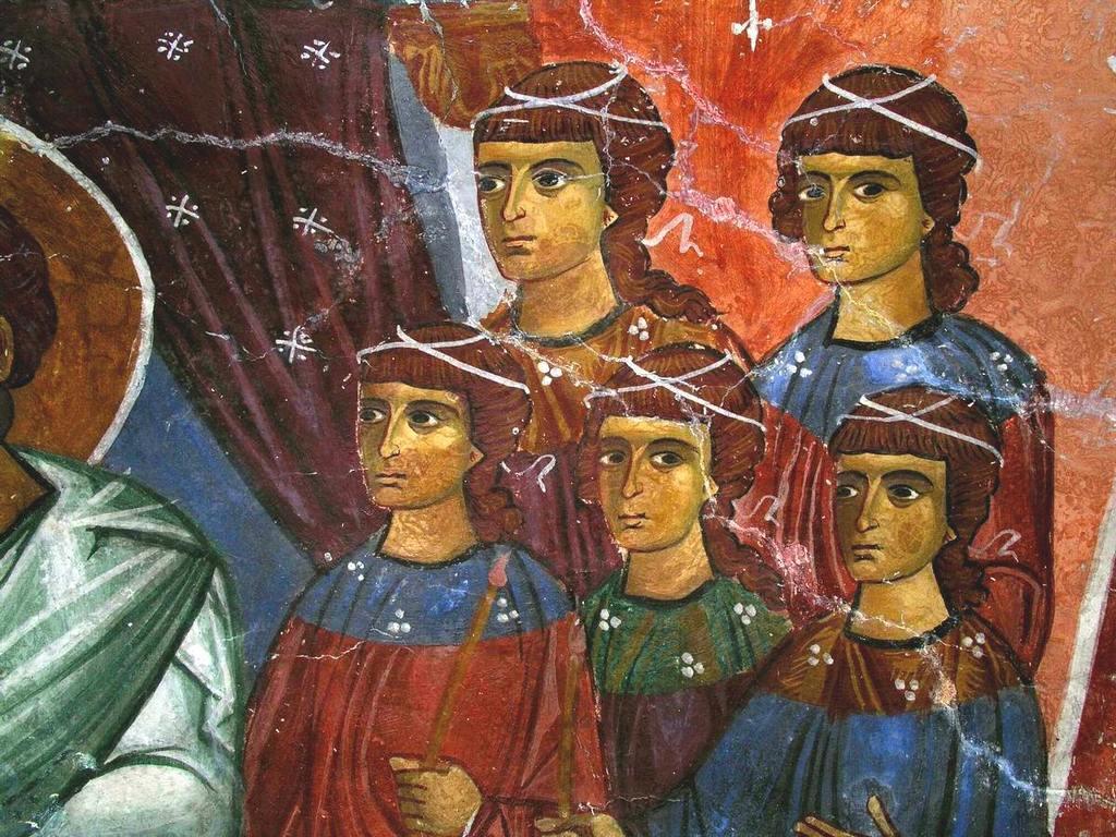 """Введение во храм Пресвятой Богородицы. Фреска церкви Святого Николая тис стегис (""""под крышей"""") на Кипре. Фрагмент."""
