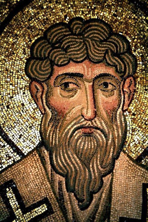 Святитель Григорий, Епископ Акрагантийский. Мозаика монастыря Дафни близ Афин, Греция. XI век.