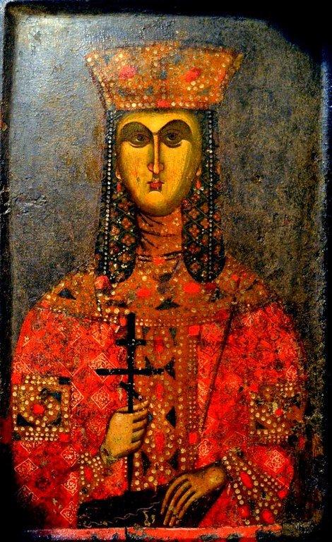 Святая Великомученица Екатерина Александрийская. Икона. Византия, середина XIV века. Византийский музей в Верии, Греция.