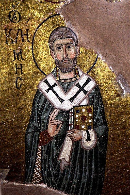 Священномученик Климент, Папа Римский. Мозаика монастыря Осиос Лукас, Греция. XI век.