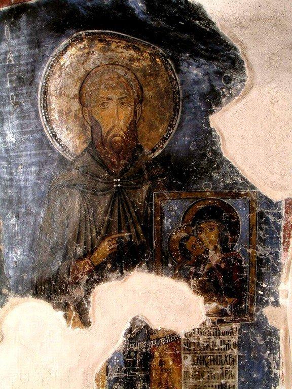 Святой Преподобномученик и Исповедник Стефан Новый. Фреска монастыря Святого Неофита Затворника на Кипре. 1197 год.