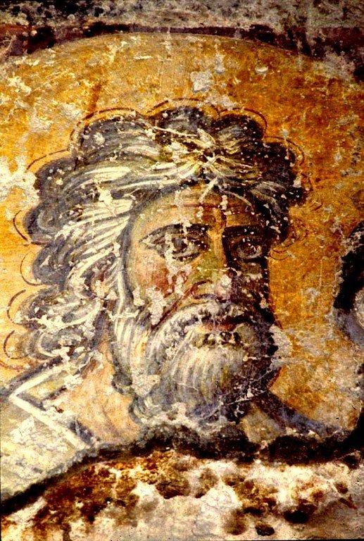 Святой Апостол Андрей Первозванный. Византийская фреска в церкви Санта Мария Антиква в Риме. 705 - 707 годы.