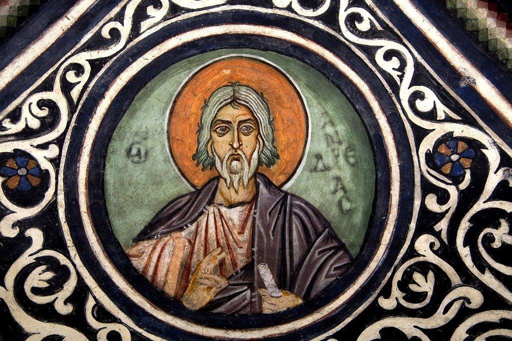 Святой Апостол Андрей Первозванный. Фреска монастыря Осиос Лукас (Греция). XI век.