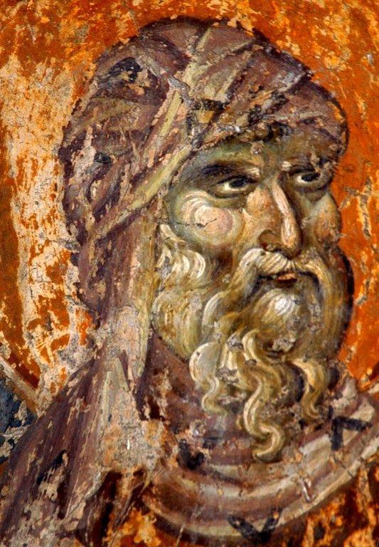 Святой Преподобный Иоанн Дамаскин. Фреска придела Святого Евфимия церкви Святого Димитрия в Салониках, Греция. XIV век.