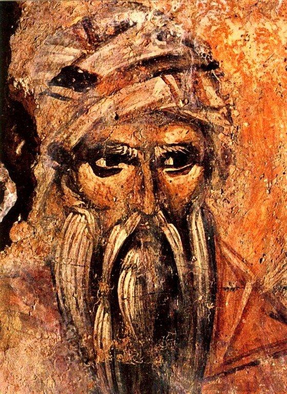Святой Преподобный Иоанн Дамаскин. Фреска церкви Святого Иоанна Предтечи в деревне Аксос, Крит.