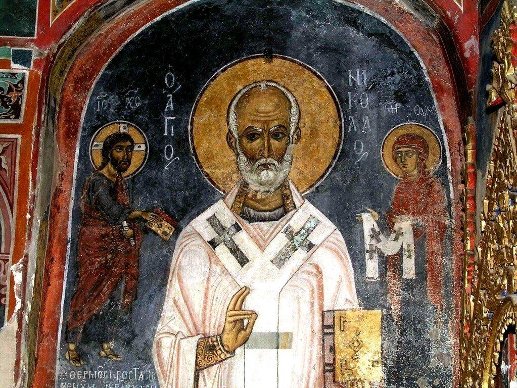 """Святитель Николай, Архиепископ Мир Ликийских, Чудотворец. Фреска церкви Святого Николая тис стегис (""""под крышей"""") на Кипре. XII век."""