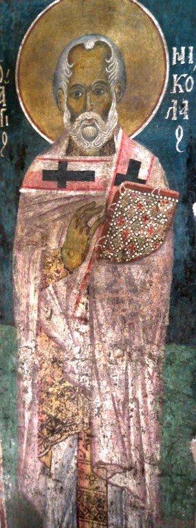 Святитель Николай, Архиепископ Мир Ликийских, Чудотворец. Фреска церкви Святого Стефана в Кастории, Греция. XIII век.