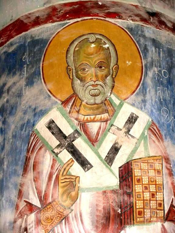 Святитель Николай, Архиепископ Мир Ликийских, Чудотворец. Фреска монастыря Христа Антифонитиса на Кипре. XII век.