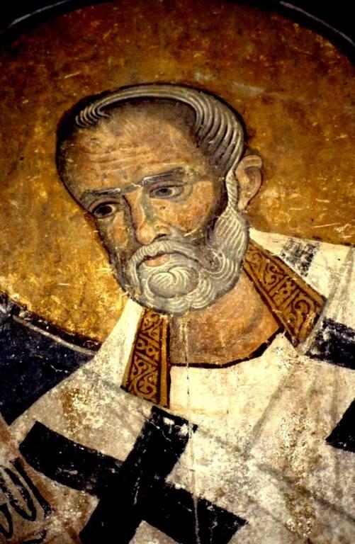 Святитель Николай, Архиепископ Мир Ликийских, Чудотворец. Фреска Старой Митрополии в Верии, Греция.