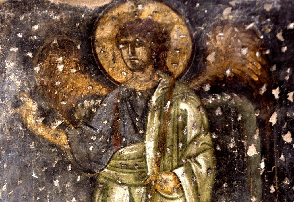 Архангел Гавриил. Фреска церкви Панагии Космосотиры в Феррах, Греция. XII век.