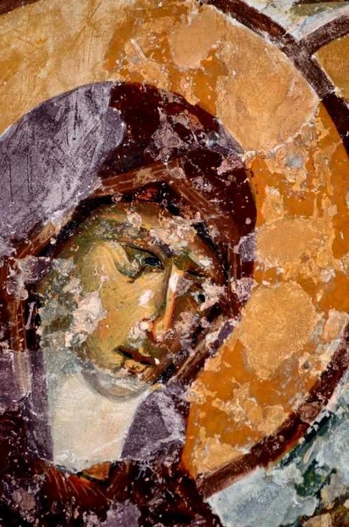 Лик Пресвятой Богородицы. Фрагмент фрески собора Святой Софии в Трапезунде. XIII век.