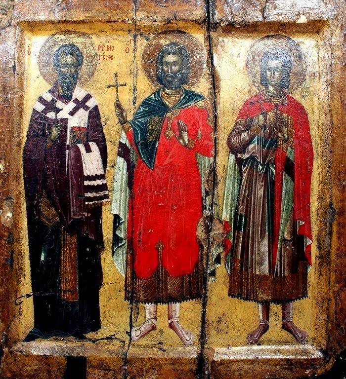 Святые Мученики Мина, Ермоген и Евграф. Икона. Византия, XIV век. Монастырь Ватопед на Святой Горе Афон.