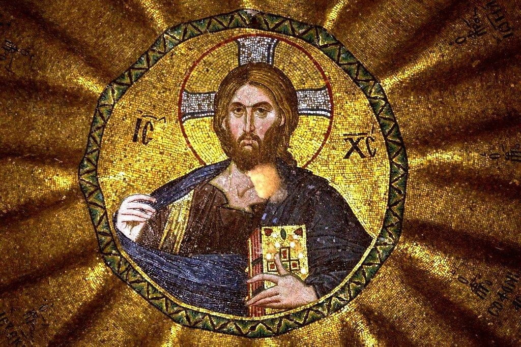 Христос Пантократор (Вседержитель). Мозаика церкви Богородицы Паммакаристос (Всеблаженной) в Константинополе. XIV век.