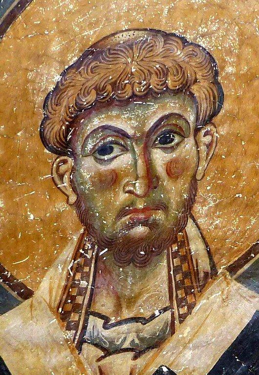 Священномученик Елевферий, Епископ Иллирийский. Фреска церкви Святых Врачей (Космы и Дамиана) в Кастории, Греция. XII век.