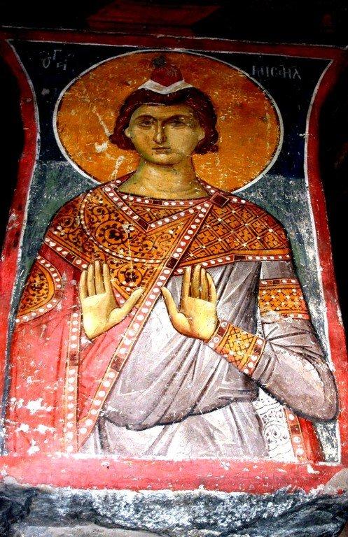 Святой отрок Мисаил. Фреска монастыря Панагии Олимпиотиссы в Элассоне, Греция. Конец XIII века.