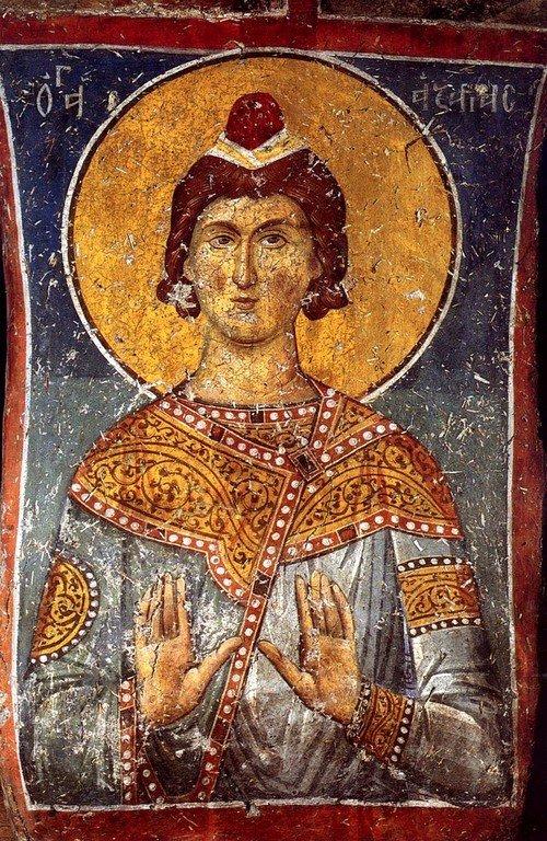 Святой отрок Азария. Фреска монастыря Панагии Олимпиотиссы в Элассоне, Греция. Конец XIII века.