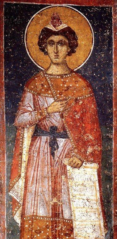Святой Пророк Даниил. Фреска монастыря Панагии Олимпиотиссы в Элассоне, Греция. Конец XIII века.