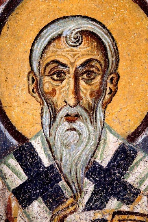 Святитель Модест, Патриарх Иерусалимский. Фреска церкви Святого Пантелеимона в Нерези, Македония. 1164 год.