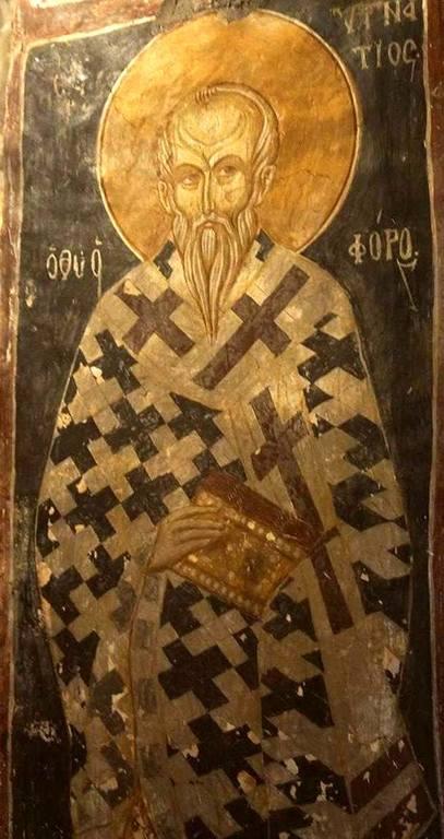 Священномученик Игнатий Богоносец, Епископ Антиохийский. Фреска церкви Святых Архангелов в Кастории, Греция. XIV век.