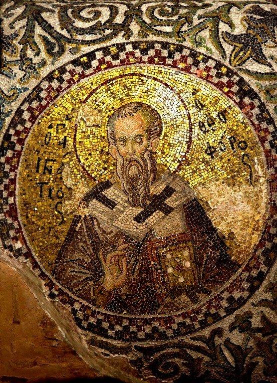 Священномученик Игнатий Богоносец, Епископ Антиохийский. Мозаика церкви Богородицы Паммакаристос (Всеблаженной) в Константинополе. XIV век.
