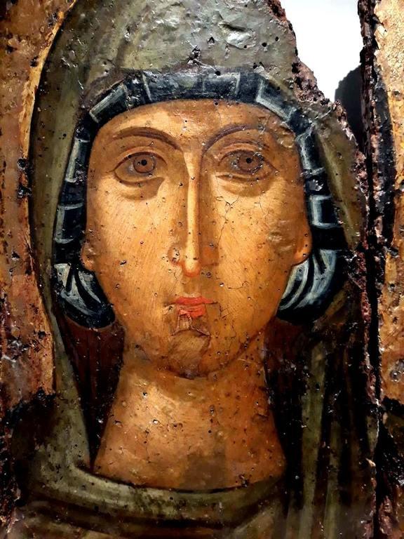 Святая Великомученица Анастасия Узорешительница. Византийская икона начала XV века. Фрагмент.