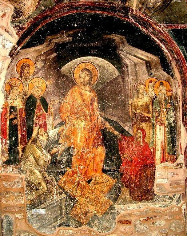 Сошествие во ад. Фреска церкви Воскресения Христова в Верии, Греция. 1315 год. Иконописец Георгий Каллиергис.