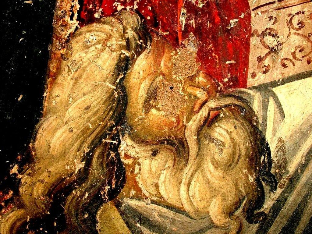 Сошествие во ад. Фреска церкви Воскресения Христова в Верии, Греция. 1315 год. Иконописец Георгий Каллиергис. Фрагмент. Святой Праотец Адам, вызволяемый Спасителем из ада.
