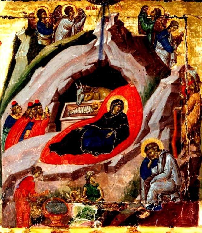 Рождество Христово. Византийская икона XIV века.