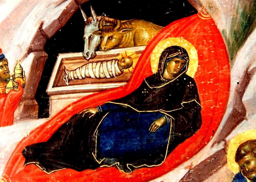 Рождество Христово. Византийская икона XIV века. Фрагмент.