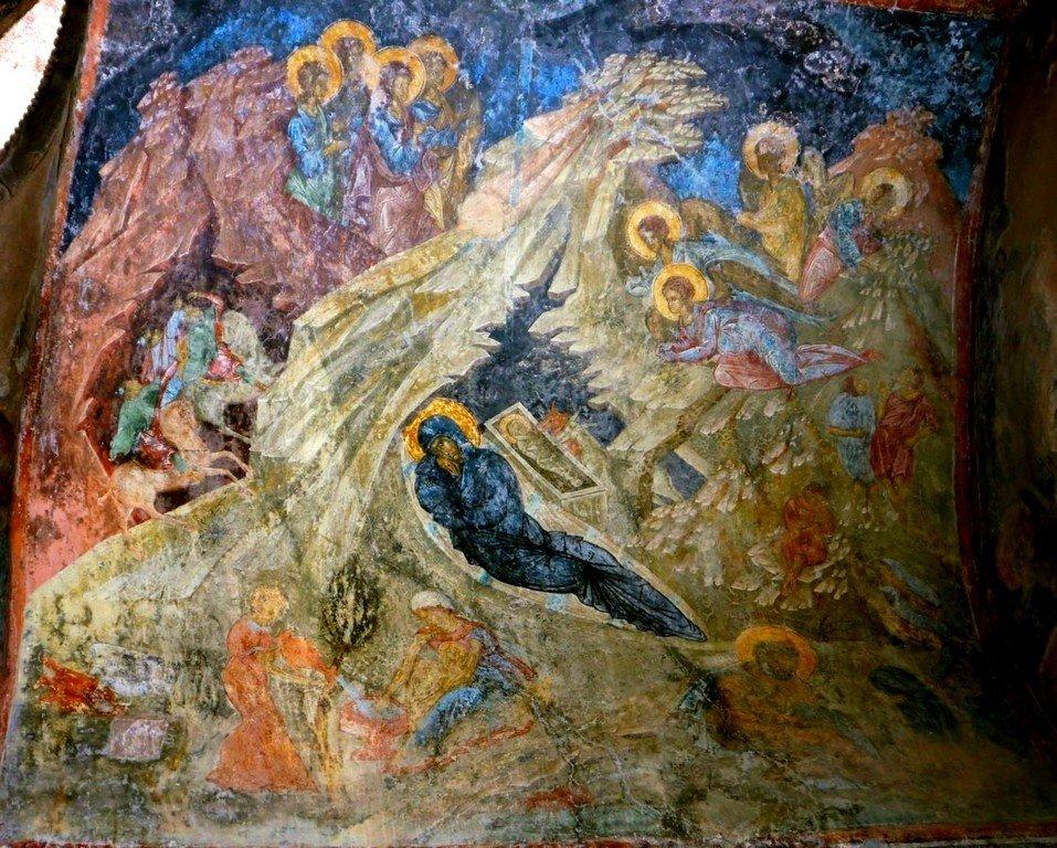 Рождество Христово. Фреска церкви Богородицы Перивлепты в Мистре, Греция. XIV век.