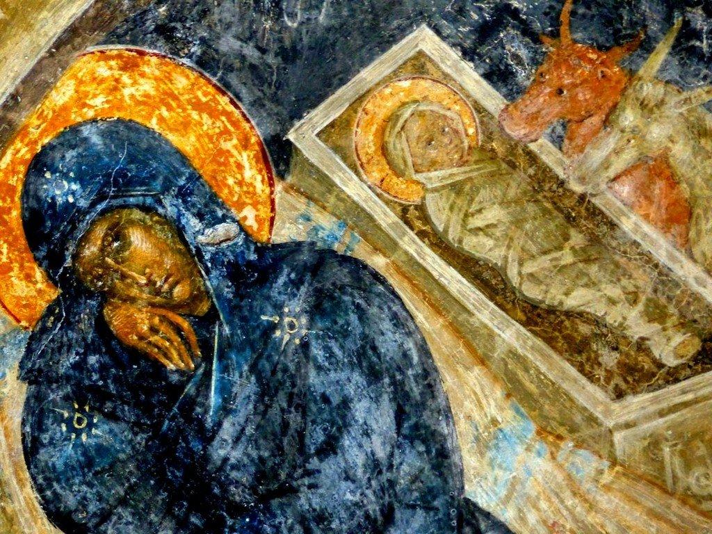 Рождество Христово. Фреска церкви Богородицы Перивлепты в Мистре, Греция. XIV век. Фрагмент.
