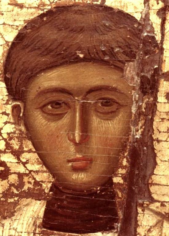 Святой Апостол от Семидесяти, Первомученик и Архидиакон Стефан. Византийская икона. Фрагмент.