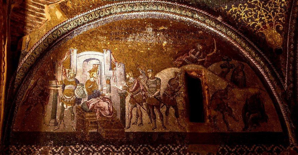 Избиение Вифлеемских младенцев. Мозаика монастыря Хора в Константинополе. 1315 - 1321 годы.