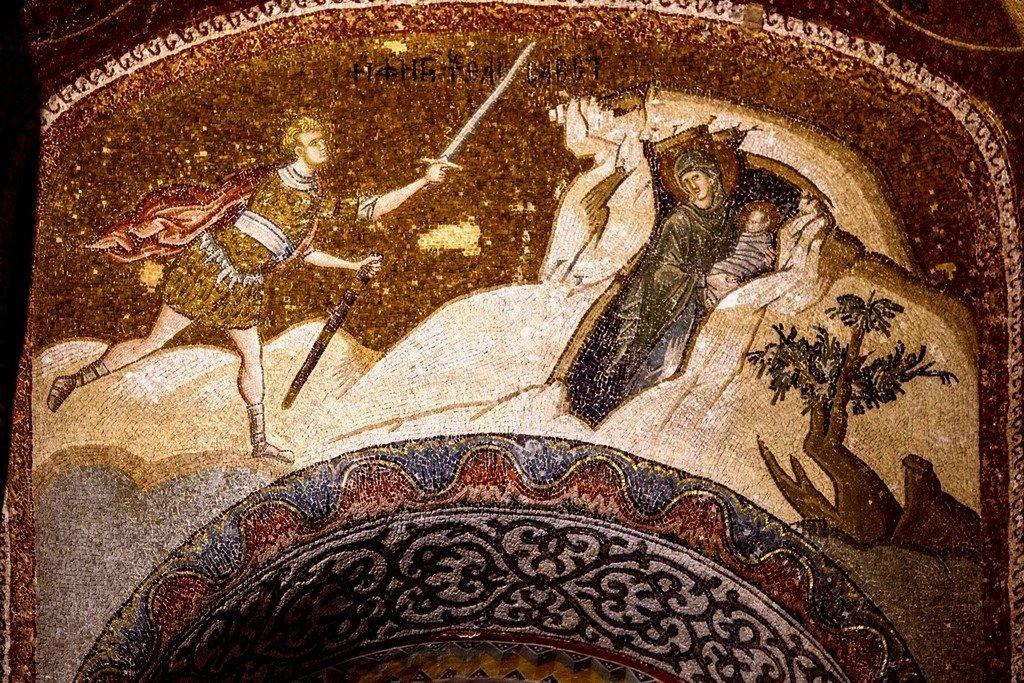 Избиение Вифлеемских младенцев. Мозаика монастыря Хора в Константинополе. 1315 - 1321 годы. Фрагмент.