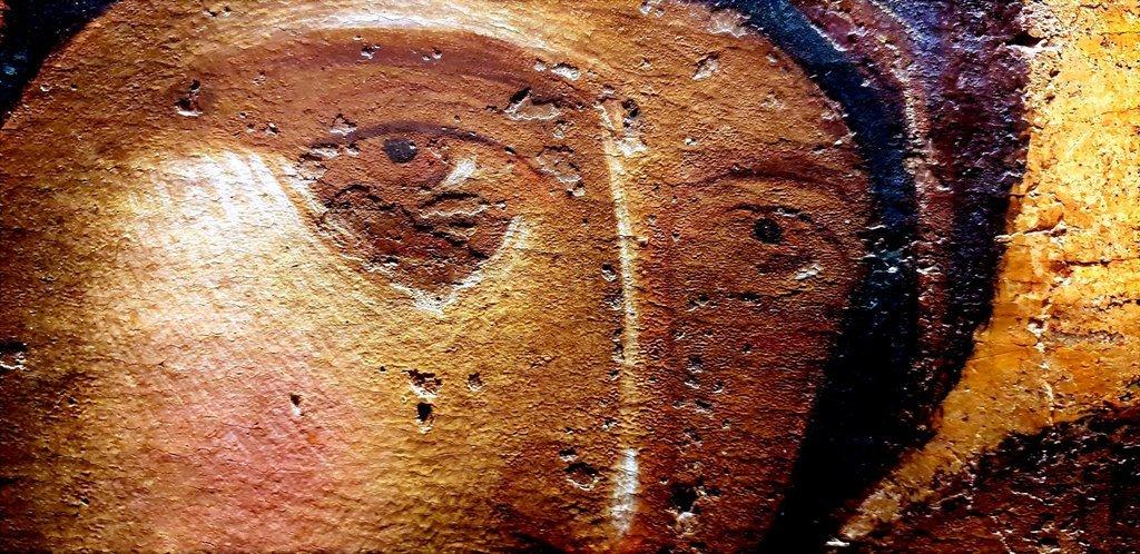 Богоматерь Елеуса. Византийская икона XIV века. Фрагмент.