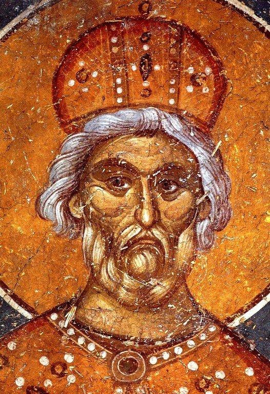 Святой Пророк Царь Давид. Фреска монастыря Панагии Олимпиотиссы в Элассоне, Греция. Конец XIII века.