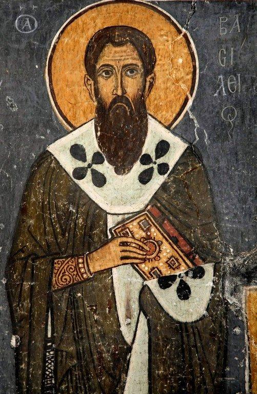 Святитель Василий Великий, Архиепископ Кесарии Каппадокийской. Фреска церкви Панагии Форвиотиссы (Панагии Асину) в Никитари, Кипр. 1105 - 1106 годы.
