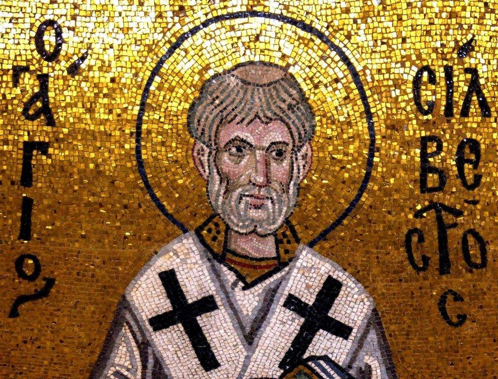 Святитель Сильвестр, Папа Римский. Фреска монастыря Дафни близ Афин, Греция. XI век.